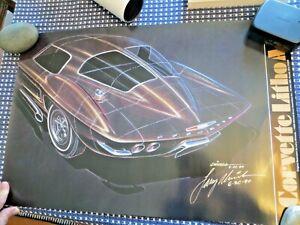 3-Larry Shinoda Signed Prints 1990 At St.Ignace Corvette1963 Stingray