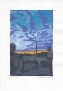 original painting A4 247MA art samovar Gouache landscape Signed 2021