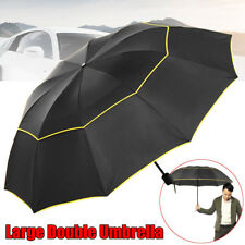 AU 62'' Large Double Rain Sunny Golf Umbrella Windbuster Three Folding Umbrella