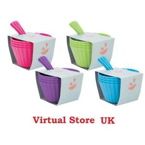 Ice Cream Dessert Bowls & Spoons Set- 4 Pack Summer BBQ Party Kids Fun UK SLR