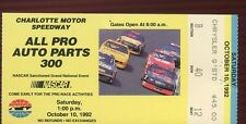 Ticket Nascar 1992 Charlotte 10/10 Auto Parts 300