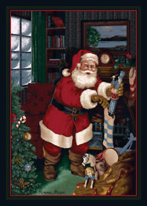 "4x6 Milliken Santa's Visit Kris Kringle Stockings Area Rug - Approx 3'10""x5'4"""