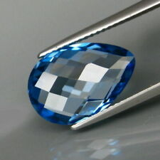 6.54 Carats 15x10 Natural SWISS BLUE TOPAZ for Jewelry Setting Pear Checkerboard