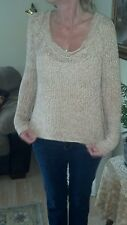 Free People loose knit pullover sweater. Small Petite cream and rose colored