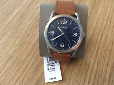 mens fossil watch BQ2304 light brown leather strap, blue face RRP £99.00 NOW £40