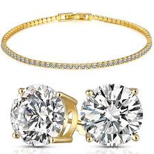 18K Yellow Gold Filled Women Mystical Topaz Love Heart Link Bracelet Jewelry