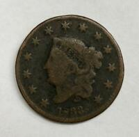 1833 Coronet Head Large Cent 1¢ Very Good