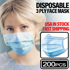 200PCS Face Mask Non Medical Surgical Dental Disposable 3PLY Earloop Mouth Cover