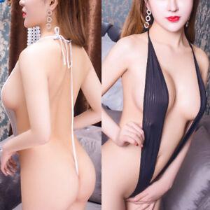 Women Sexy Lingerie Bikini V-string Backless Bodysuit Thongs Slingshot Swimwear