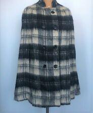 Black/White Mohair Wool Scotland Tartan Plaid Cape Poncho Stroller Swing Coat OS