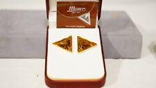 Moser Crystal Earring Rhodium Colour Color Topaz Orange Triangle