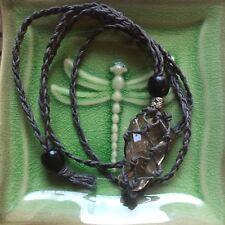 Dark Grey Organic Hemp Macrame Adjust/Interchange Crystal Necklace