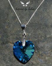 SWAROVSKI Crystal Heart Bermuda Blue Necklace Sterling Silver Wedding Bridal