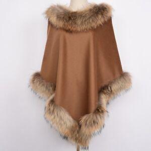 Damen Pashmina Kaschmir Poncho Cape Wrap Fuchs Waschbär Pelzkragen Outwear 47447