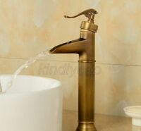 Antique Brass Bathroom Sink Basin Faucet Waterfall Spout Single Handle Mixer Tap