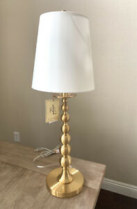 NWT RALPH LAUREN TABLE LAMP Stacked Graduated Balls Candlestick Brass COPPER