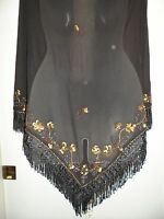 Scala 0S Missy NWT Floral Shawl Wrap Scarf Black Gold Sequin Beaded Fringe RARE
