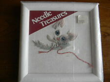 Framed Needle Treasures Wool Crewel Kitten Baby Nursery - Jca New 6 x 6