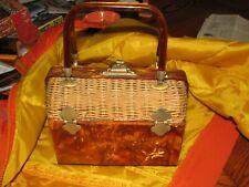 Style craft Miami vintage 1950's 1960's Lucite wicker box purse