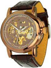 Minoir Uhren Modell Chaumont rotgold/braun Automatikuhr Teilskelettuhr Unisexuhr