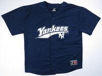 Vintage 90s New York Yankees NY Logo Athletic MLB Baseball Blue Blank Jersey XL
