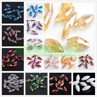 19x8mm Oval Rugby Faceted Crystal Glass Loose Spacer Beads Jewelry Making