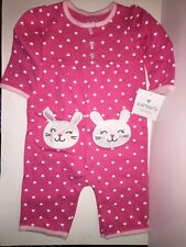 CARTER'S Baby Girls' Heart & Bunny One-Piece Jumpsuit PINK MULTI Size 3 Months