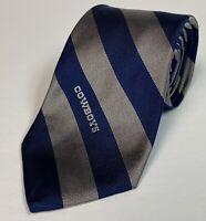 """Vintage NFL Dallas Cowboys Neck Tie Blue Silver Stripe By Burma Bibas 54"""""""