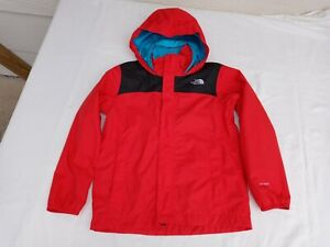 THE NORTH FACE Hooded DryVent Red/Black/Blue Rain Jacket Zip Boy's Size S/P 7/8