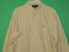 Polo Ralph Lauren Men's Size L Large Classic Fit Yellow / Pink Long Slv Shirt