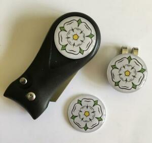 Golf  Pitchfork Magnetic Hat Clip With 3 Yorkshire Rose Markers