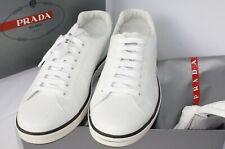New Prada Men's Tennis Shoes Sneakers Size 10 White Vetello Plume