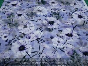 3 Yards Digital Cotton Fabric - QT Fabrics Simone Large Floral Foliage on Purple