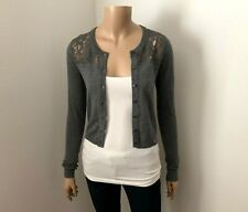 NWT Hollister Lace Cardigan Size XS Sweater Long Sleeves Dark Gray