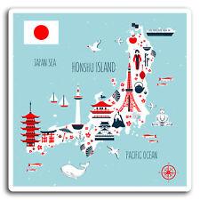 2 x 10cm Honshu Island Map Vinyl Stickers - Japan Sticker Laptop Luggage #17019