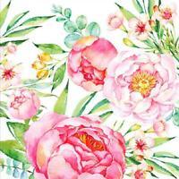 20 X Garten Peony Rosen Blumen Rosa Blumen 3 Ply Papier Servietten Napkins