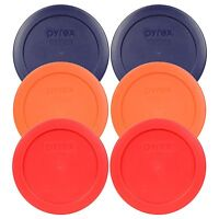 Pyrex 7200-PC 2 Cup (2) Blue (2) Orange (2) Red Round Plastic Lids 6PK New