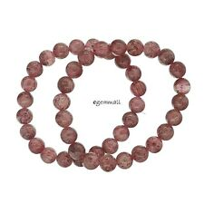"7.5"" Natural Lepidocrocite Strawberry Quartz Bracelet Round Beads 8.5mm #85459"