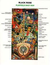 BLACK ROSE Original PLAYFIELD SHOT MAP & RULES SHEET Pinball PROMO BALLY 1992