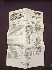 Vintage Galoob Unifighters Air Force Jet Fighter Instruction Sheet