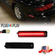 Smoke Rear Bumper Red Led Side Marker Lights For 93 02 Pontiac Firebird Trans Am
