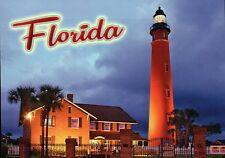 Ponce De Leon Lighthouse, Florida, Inlet Light FL, Twilight, Fence --- Postcard