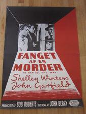 HE RAN ALL THE DAY Original 1952 Danish poster film noir John Garfield