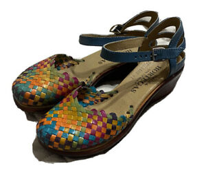 Authentic Mexican Women's Huarache Wedge Leather Sandal Shoes Handmade Size 9