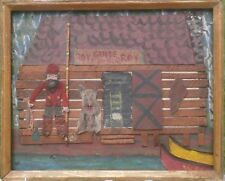 """""""The Guide"""" Cabin in Woods-Wood & Oil Collage-Outsider Art Painting-Paul Nickel"""
