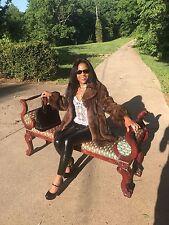 Custom Designer Russian sable brown female Mink Fur coat jacket bolero S 0-6