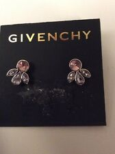 $35 Givenchy Crescent Purple/pink my Crystal Stud Earrings #347 C GE