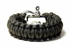 Premium Paracord Survival Bracelet OD Green With S/S Shackle USA Hand Made USA