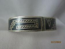 "MEXICO JGC PRE- EAGLE STERLING SILVER ETCHED OXIDIZED 9/16"" HINGED LINK BRACELT"