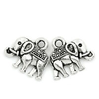 50PCs Charms Pendants Elephant Animal Silver Tone 14x12mm Jewelry Making wD